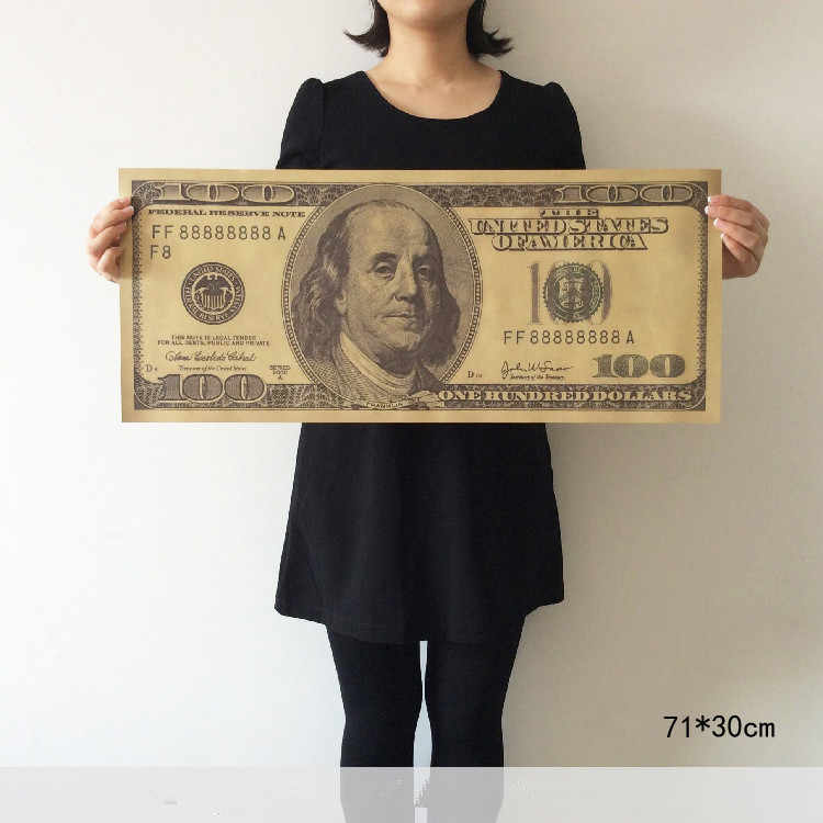 100 Dollars Large Vintage Kraft Poster Wall Stickers Art Mural Decal Painting Core Retro Bar Cafe Home Decoration