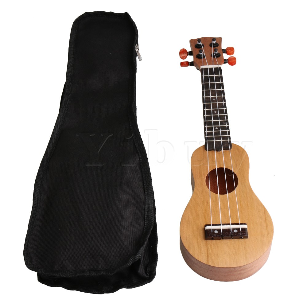 Yibuy 11.5x4cm Wood Color Spruce Pocket Ukelele 17 Small Guitar 4 String Guitar with Bla ...