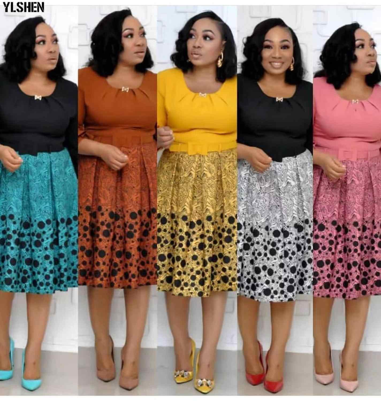 Африканские платья для женщин Bazin Riche принт Африка платье Africaine Femme 2019 платье Дизайнер Плюс Размер юбка Festa для женщин