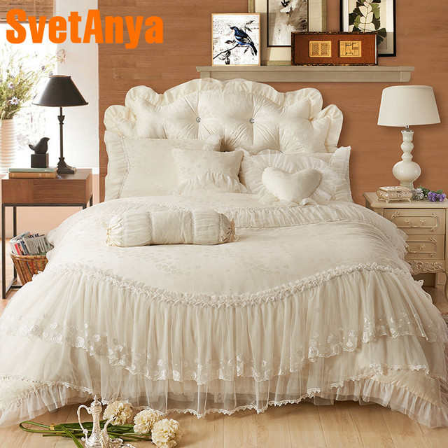Princess Lacecotton Luxury Bedding Sets Queen King Size Beigepink