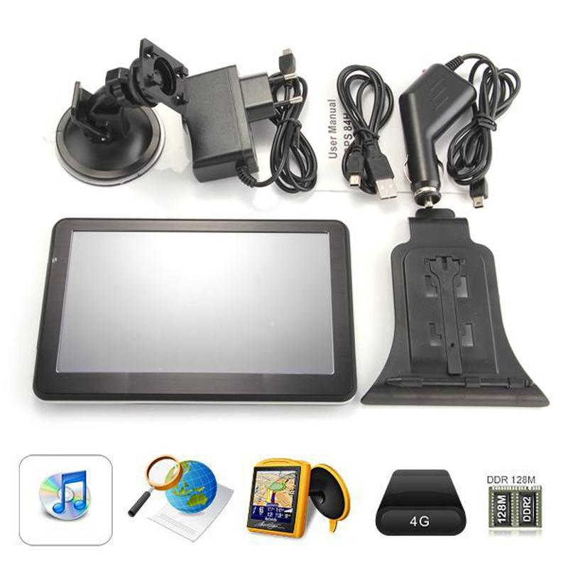 Car 7 TFT Touch Screen GPS Navigation FM RAM 128MB 8GB+Europe Map