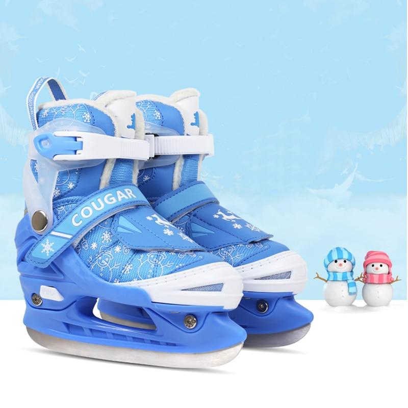 купить NEW 1 Pair Children Beginner Ice Blade Skates Shoes Adjustable Thermal Adjustable Figure Skating 2 Colors For Girls Boy по цене 4198.17 рублей