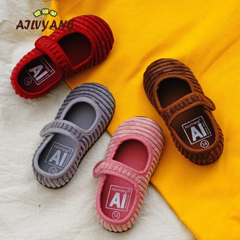 2019 Girls Brand Shoes Shallow Mouth Kindergarten Children Indoor Shoes Kids Canvas Single Soft Bottom Shoes