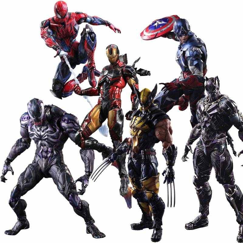Artes Jogo quente Avengers Batman Black Panther Iron Man Super Hero Deadpool Superma PVC Action Figure Brinquedos Modelo Playarts kai presente