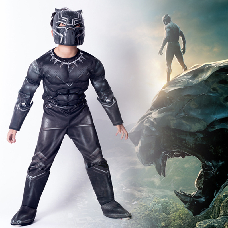 Black Panther Kid Musle Cosplay Costumes for Boy Captain America Civil War Panther Mask Jumpsuits Halloween Carnival Costume