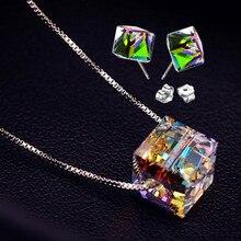 2015 nuevo estilo de verano plata pura s925 cubic AAA cristal gargantilla collar + pendientes conjunto joyería de plata esterlina collares y colgantes