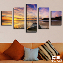framed 5pcs blue sky clear ocean canvas art wall pictures for living room hd print large modern cuadros decoration print poster