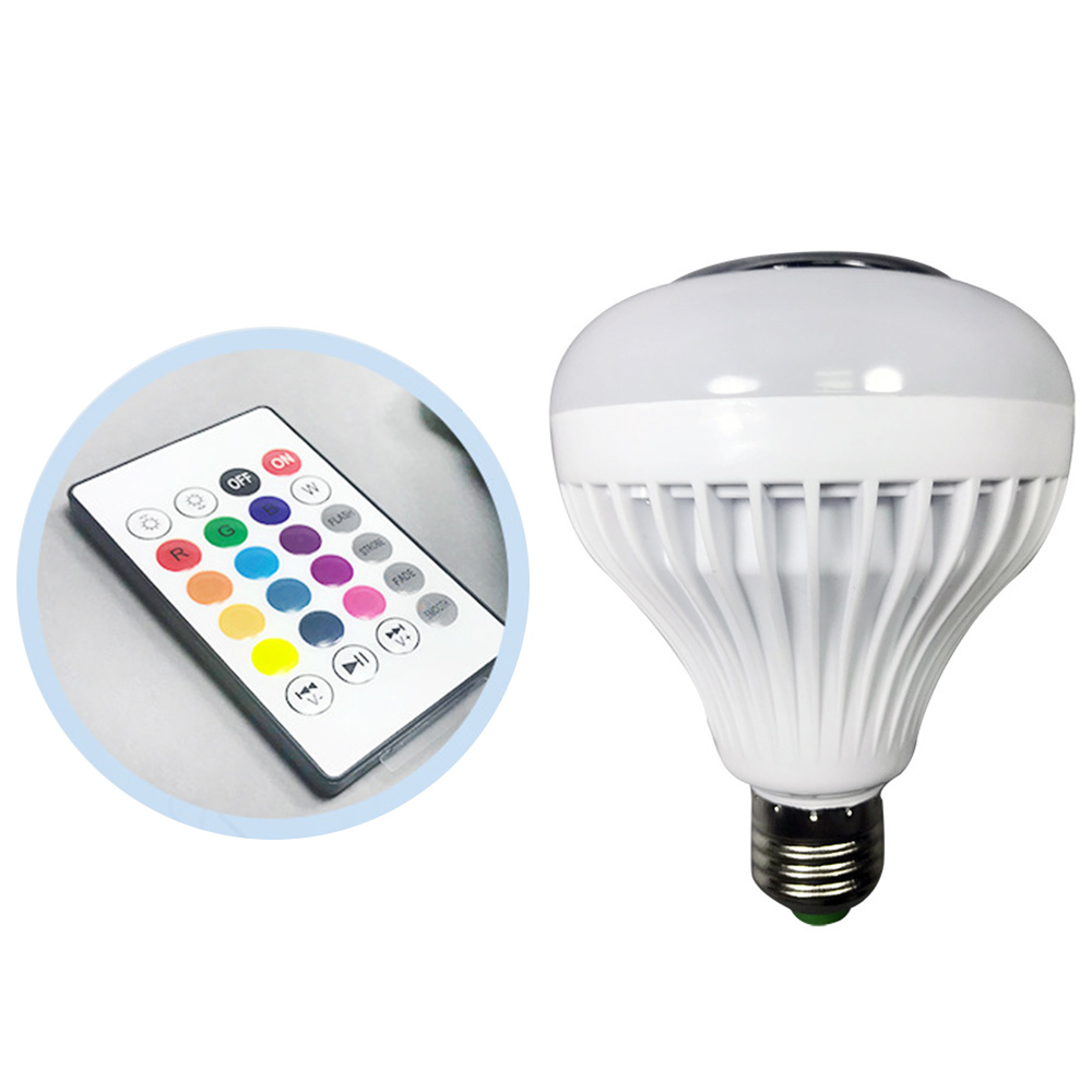 RGB <font><b>LED</b></font> Bulb <font><b>LED</b></font> Lamp Wireless Bluetooth Speaker Music Playing AC 220V Dimmable <font><b>RGBW</b></font> with 24 Keys Remote <font><b>12W</b></font> image