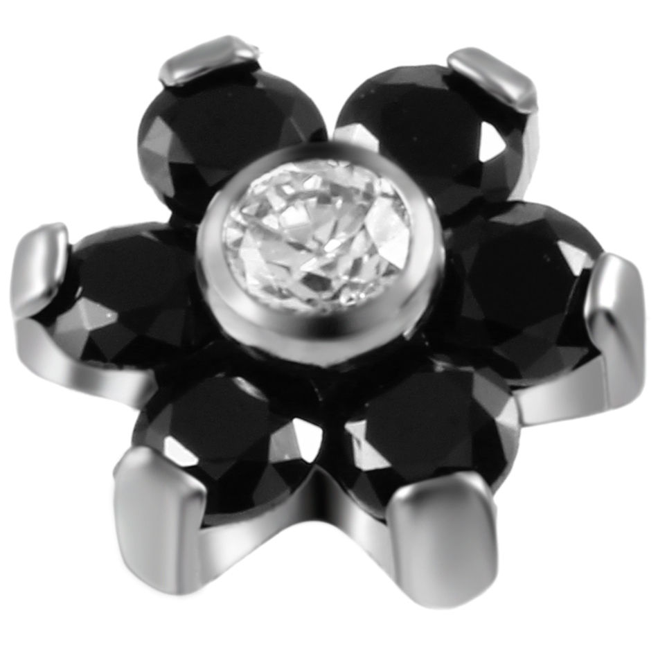 100 pièces G23 titane oreille Targus Piercing fleur titane Zircon Labret lèvre Piercing - 6