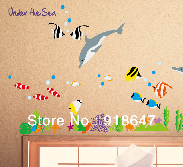 Factory Wholesale Big Size Under the Sea Dolphin and Fish Bathroom ...