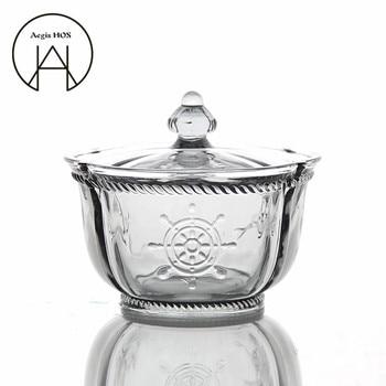 Vintage in rilievo del modello di Copertura ciotola di vetro colorato da dessert ciotole gelato senza piombo Coppa di vetro serbatoio di stoccaggio vaso della caramella posate può