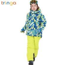 Детский лыжный костюм утепленные брюки для мальчиков и девочек водонепроницаемая ветрозащитная теплая куртка детские костюмы для спорта на открытом воздухе