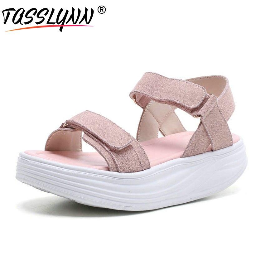 TASSLYNN 2019 talons hauts crochet & boucle chaussures été femme plat avec femmes sandales enfant daim décontracté plate-forme dames chaussures taille 34-39