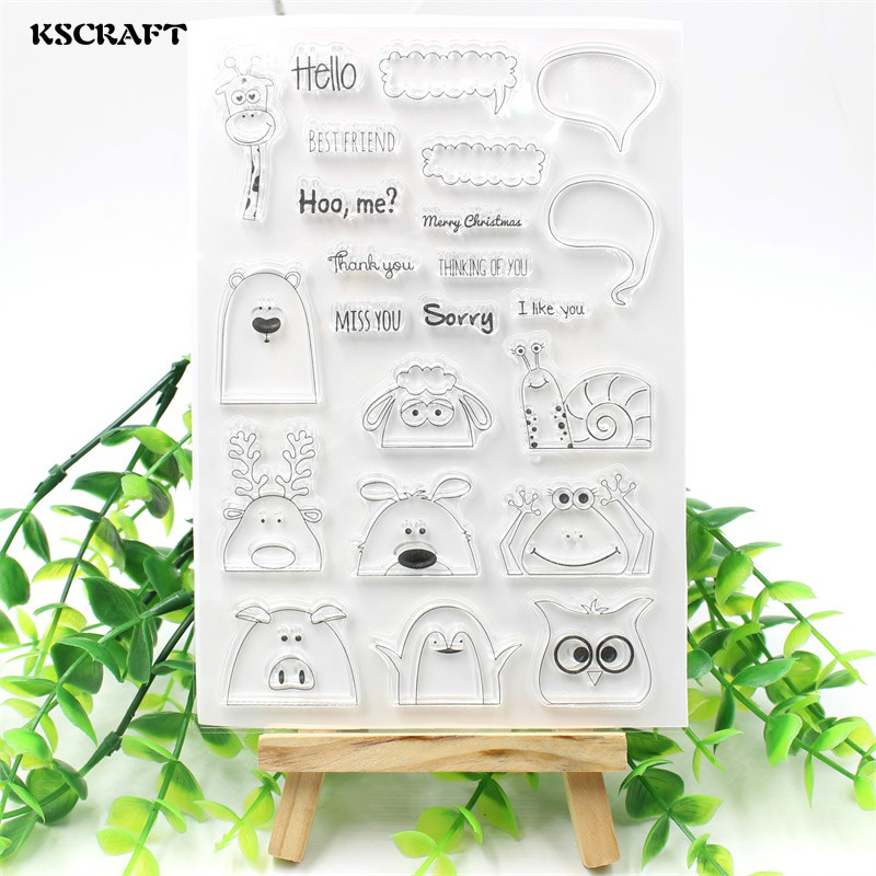 KSCRAFT Hidden Animals Transparent Clear Silicone Stamp/Seal for DIY scrapbooking/photo album Decorative clear stamp sheets chicken animals transparent clear silicone stamp seal for diy scrapbooking photo album decorative clear stamp sheets a547