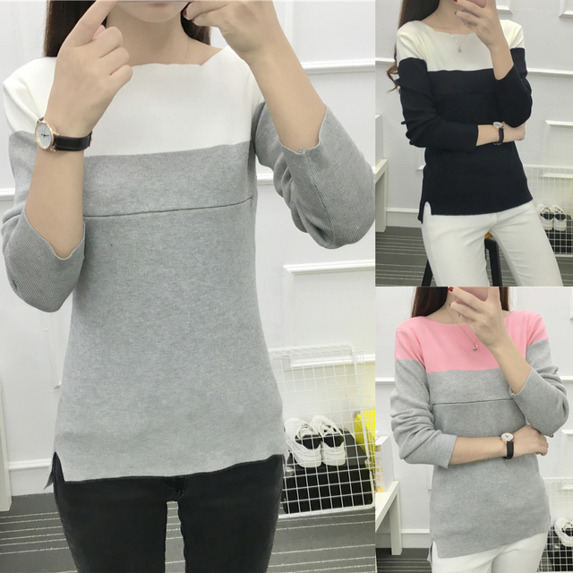 Comfy Long-sleeve Knitted  T-shirt for Nursing Mothers