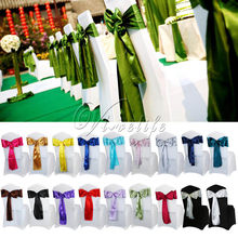 "6"" x 108"" Satin Chair Sash Bow Ties For Banquet Wedding Party Butterfly Craft Chair Cover Decor Supplies Wholesales 18Colors(China)"