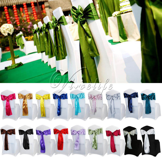 6 X 108 Satin Chair Sash Bow Ties For Banquet Wedding Party Erfly Craft