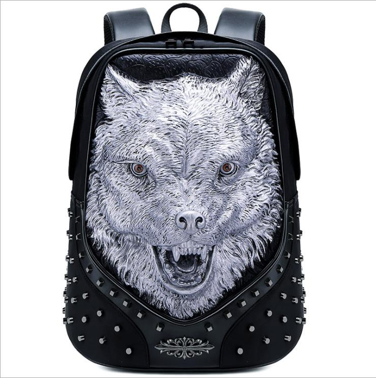 Embossed rivet 3D backpack multi-function outdoor new travel bag animal waterproof fox skull head back pack Multiple shapes Embossed rivet 3D backpack multi-function outdoor new travel bag animal waterproof fox skull head back pack Multiple shapes