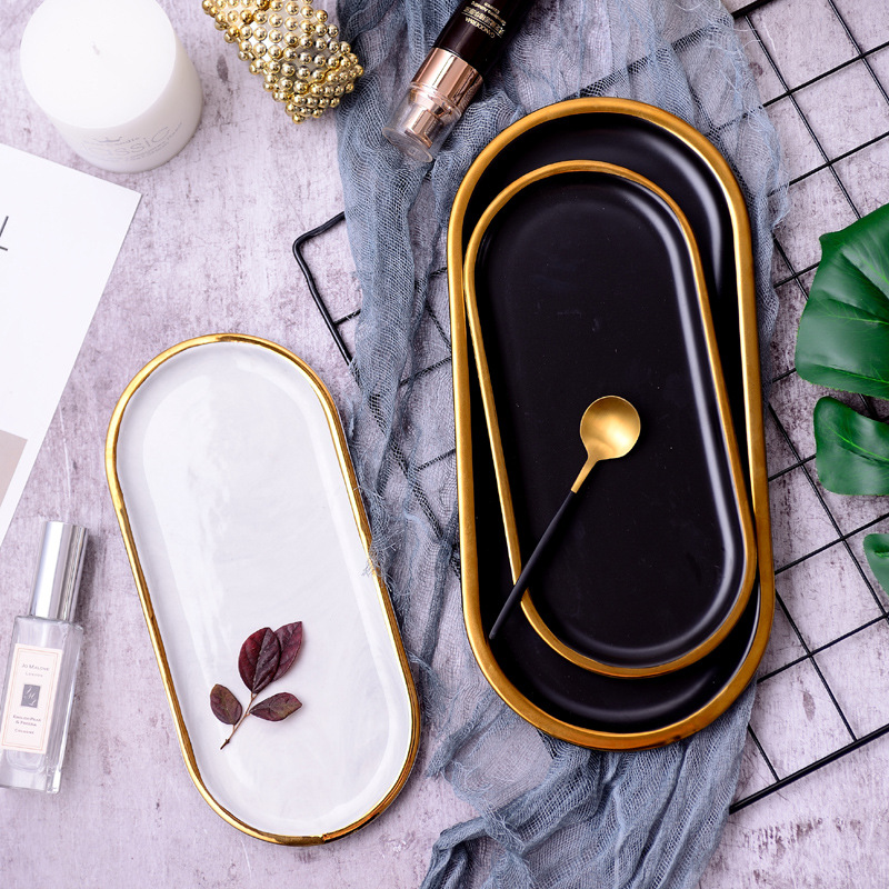 Marble Nordic Black Gold Luxury Ceramic Creative Retro Personality Home Tray Dessert Plate Jewelry Tray Dishes and Plates Sets