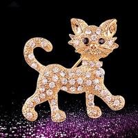 Women's Fashion Shining Rhinestone Brooch Cool Cat Pattern Decor Jewelry Gift