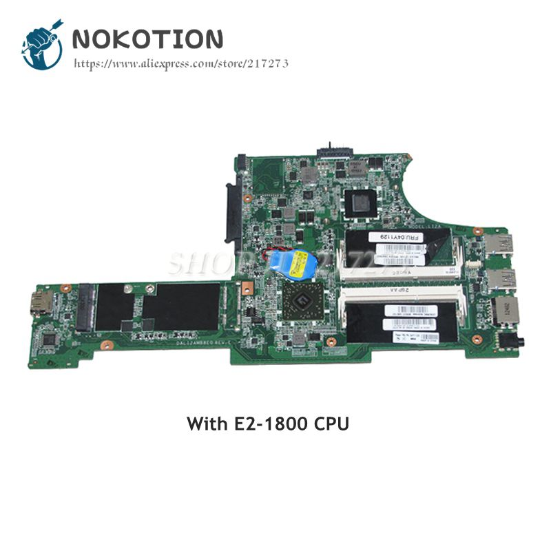 NOKOTION Laptop Motherboard For Lenovo Thinkpad X131 X131E MAIN BOARD DALI2AMB8E0 REV E FRU 04Y1129 E2-1800 CPU DDR3