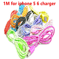 1M  Wire Sync Data Charger Cable for iPhone 5 5s 6 6plus Braided Usb Charger Cable