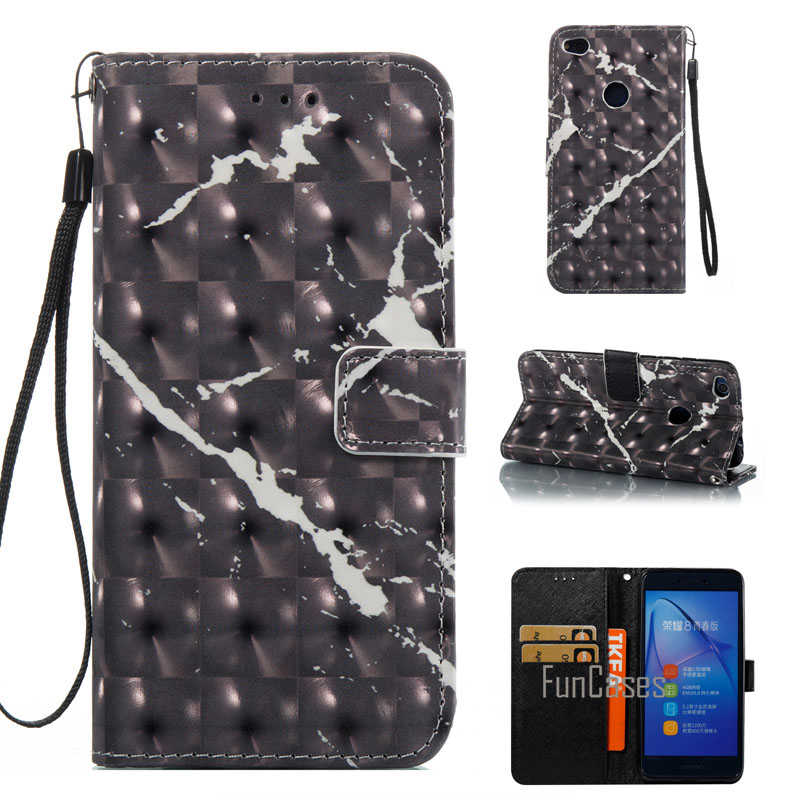 Etui téléphone huawei P8 Lite 2017 3D marbre pierre granit PU cuir étui à rabat + TPU couverture arrière support portefeuille sacs pour téléphone portable