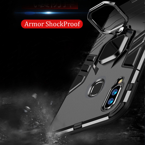 Image 3 - For Samsung Galaxy A40 A30 A20 Case Armor PC Cover Finger Ring Holder Phone Case For Samsung A 40 30 20 Cover Durable Bumper