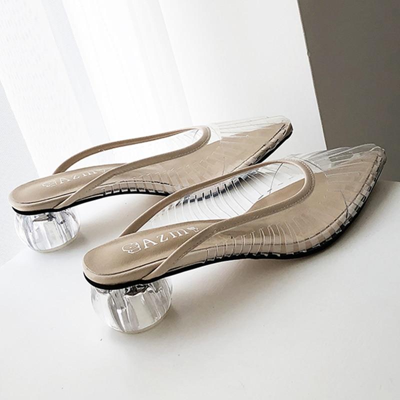 Fashion New Women Sandals PVC Crystal Heel Transparent Women Mules Clear High Heels Summer Sandals Pumps Shoes Slip On Sandals