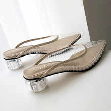 Fashion New Women Sandals PVC Crystal Heel Transparent Mules Clear High Heels Summer Pumps Shoes Slip On