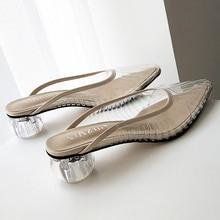 Fashion New Women Sandals PVC Crystal Heel Transparent Women Mules Clear High Heels Summer Sandals Pumps Shoes Slip On Sandals цена