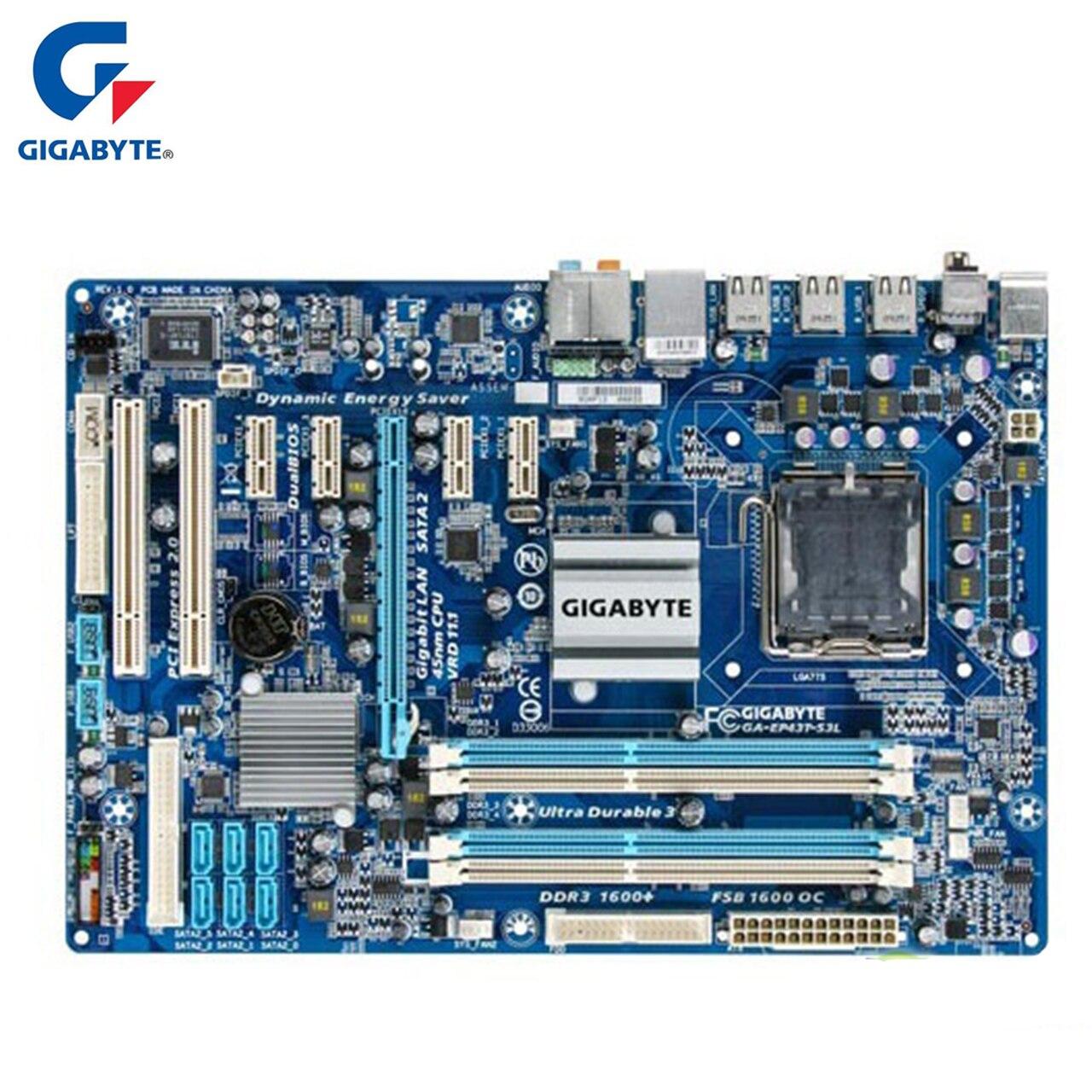Gigabyte GA-EP43T-S3L 100% D'origine Carte Mère LGA 775 DDR3 USB2.0 16g P43 EP43T-S3L De Bureau Carte Mère SATA II Systemboard Utilisé