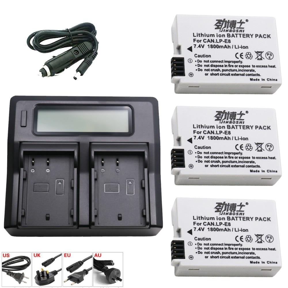 3 pièces LP-E8 LPE8 1800 mAh LP E8 Batterie Rechargeable + LCD Double Chargeur Pour appareil photo Canon EOS 550D 600D 650D 700D Rebelles T2i T3i T4i T5i