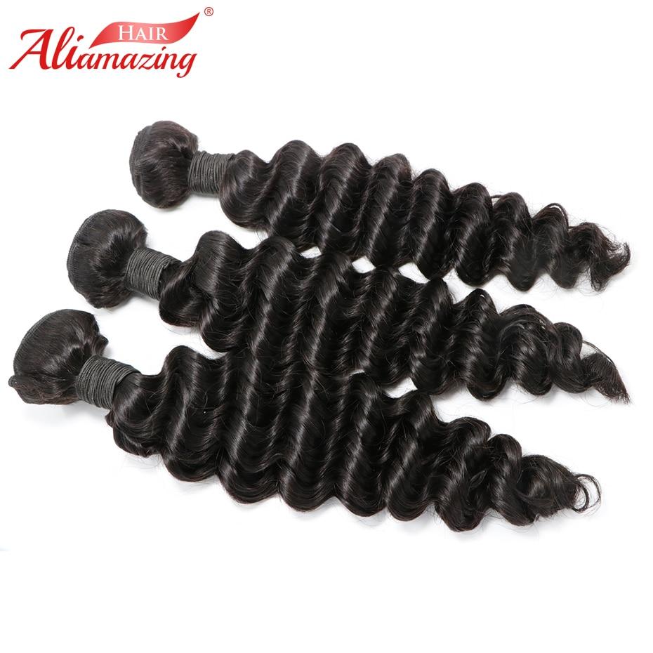 Ali Amazing Hair Human Hair Bundles 3pcs/lot Deep Wave Remy Peruvian Hair Weave Bundles Extensions Double Weft Free Shipping