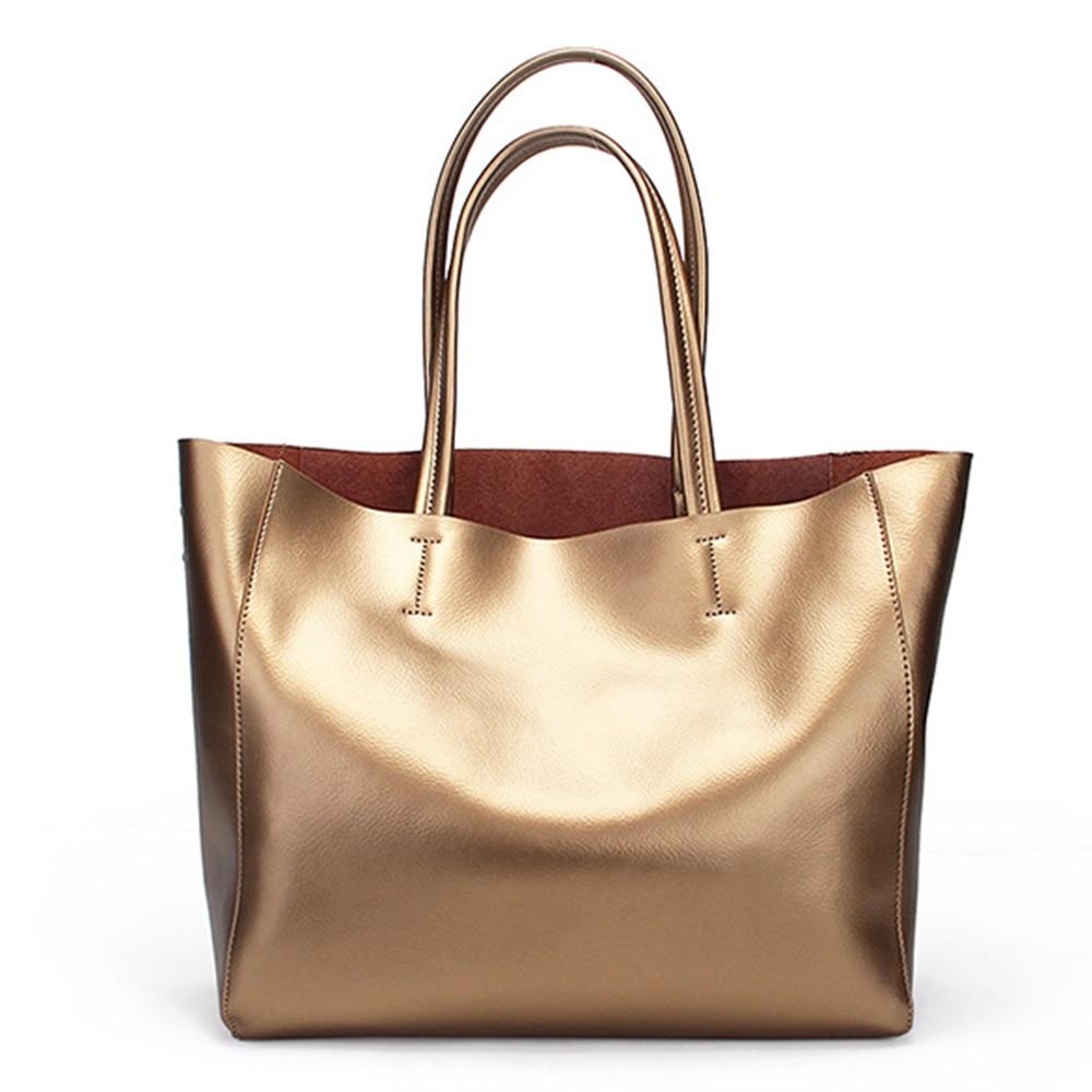 Zency Luxury Gold Women Shoulder Bag 100% cuero genuino bolso de gran - Bolsos - foto 2