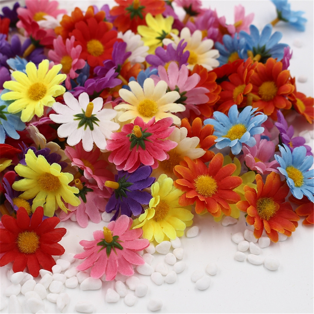10pcs Small Silk Sunflower Handmake Artificial Flower Head Wedding Decoration DIY Wreath Gift Box Scrapbooking Craft Fake Flower