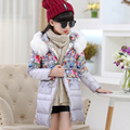 2016 new children down girls female child girl kids winter thickening outerwear parka overcoat hooded collar pull size 120-150