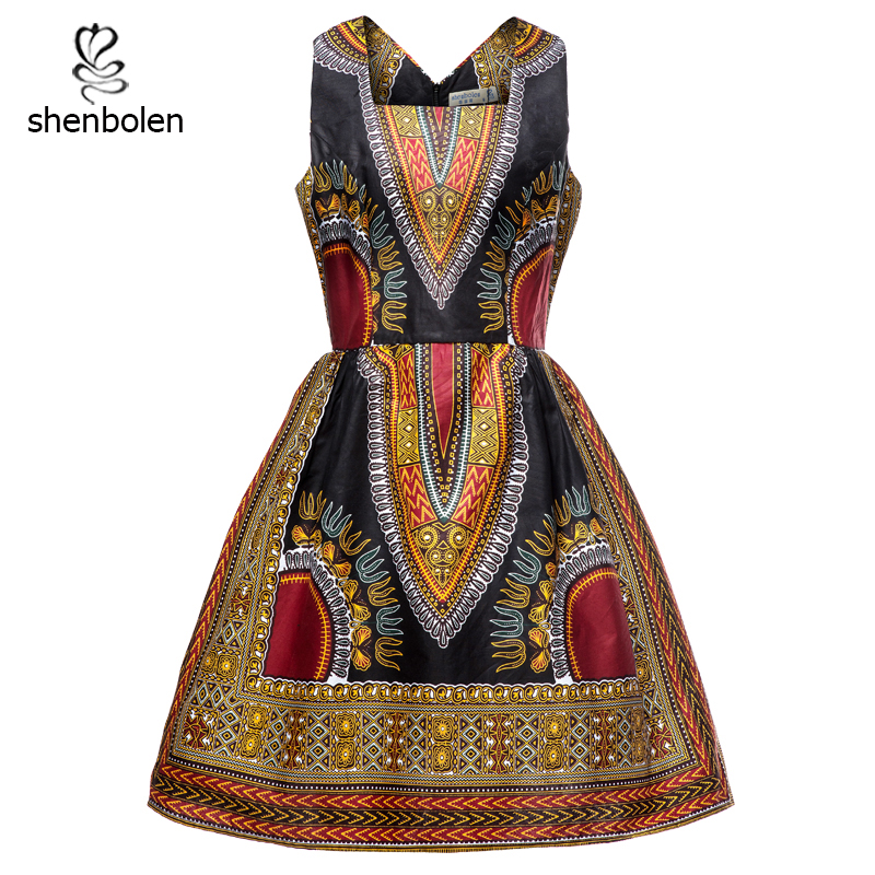 Shenbolen African dresses for women dashiki traditional cotton wax dress african clothes s-5xl plus size