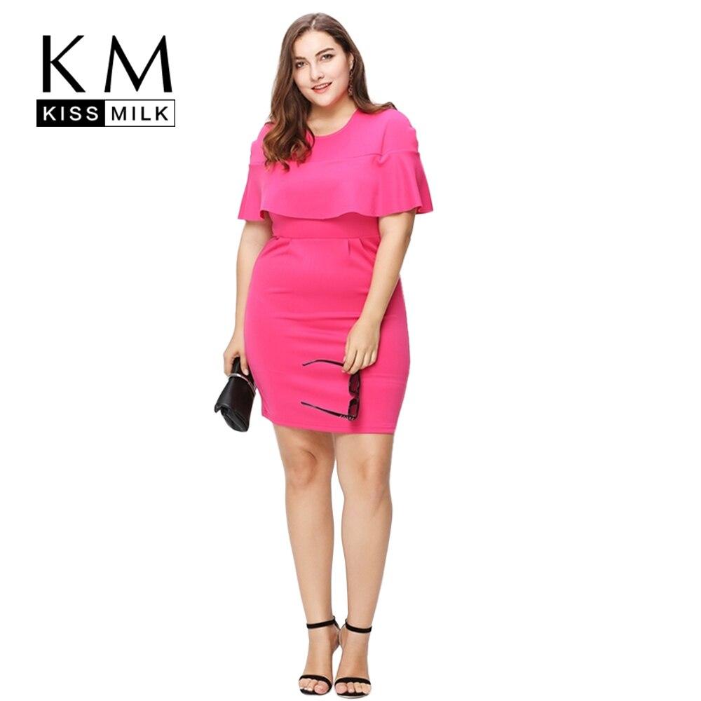 Kissmilk Plus Size New Fashion Women Clothing Basic Ol Style Elegant Dress Ruffles Streetwear