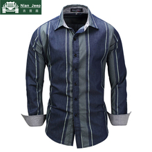 Brand 2018 New Fashion Striped Patchwork Shirts Long Sleeve Casual Dre