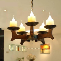 Wood Chandelier wood light Restaurant bar living room Wooden Restore Ancient 3/6 heads lamps wl32213