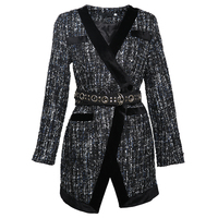 Autumn and winter new small fragrance V neck long sleeved tweed wool high waist split blazer with belt
