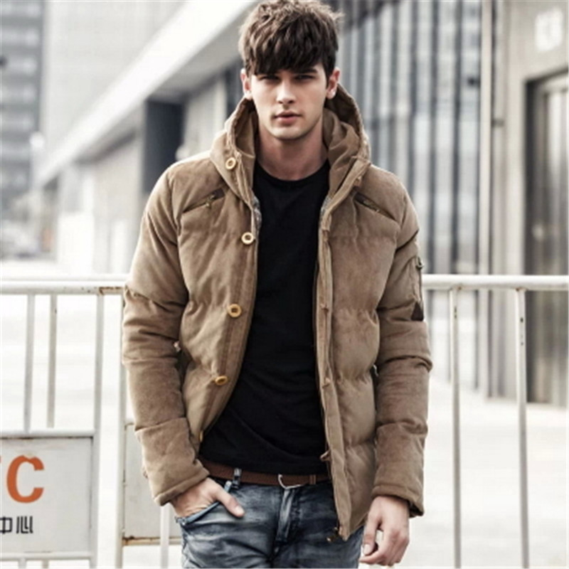 2017 Men's Solid Thick Hooded Winter Coat Slim British Tide Thick Winter Hooded Down Jacket Coat Tide Male British Solid M-3XL
