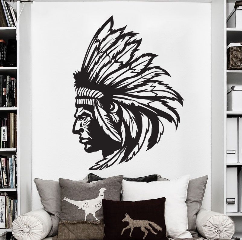 Free Shipping Redskin Native American Indian Chief Wall Decal Art Vinyl Wall Stickers Personalized Home Decor Decals ES-41