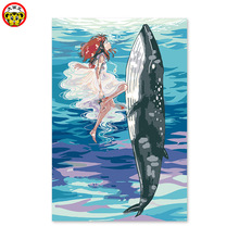 home decor oil painting whale and little girl anime cartoon cartoon  colors by numbers Pictures by numbers on canvas pictures by