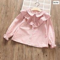 YP0101 1636 2018 Spring Baby Girl Shirt Plaid Peter Pan Collar Toddler Girl Blouses Ruffles Full