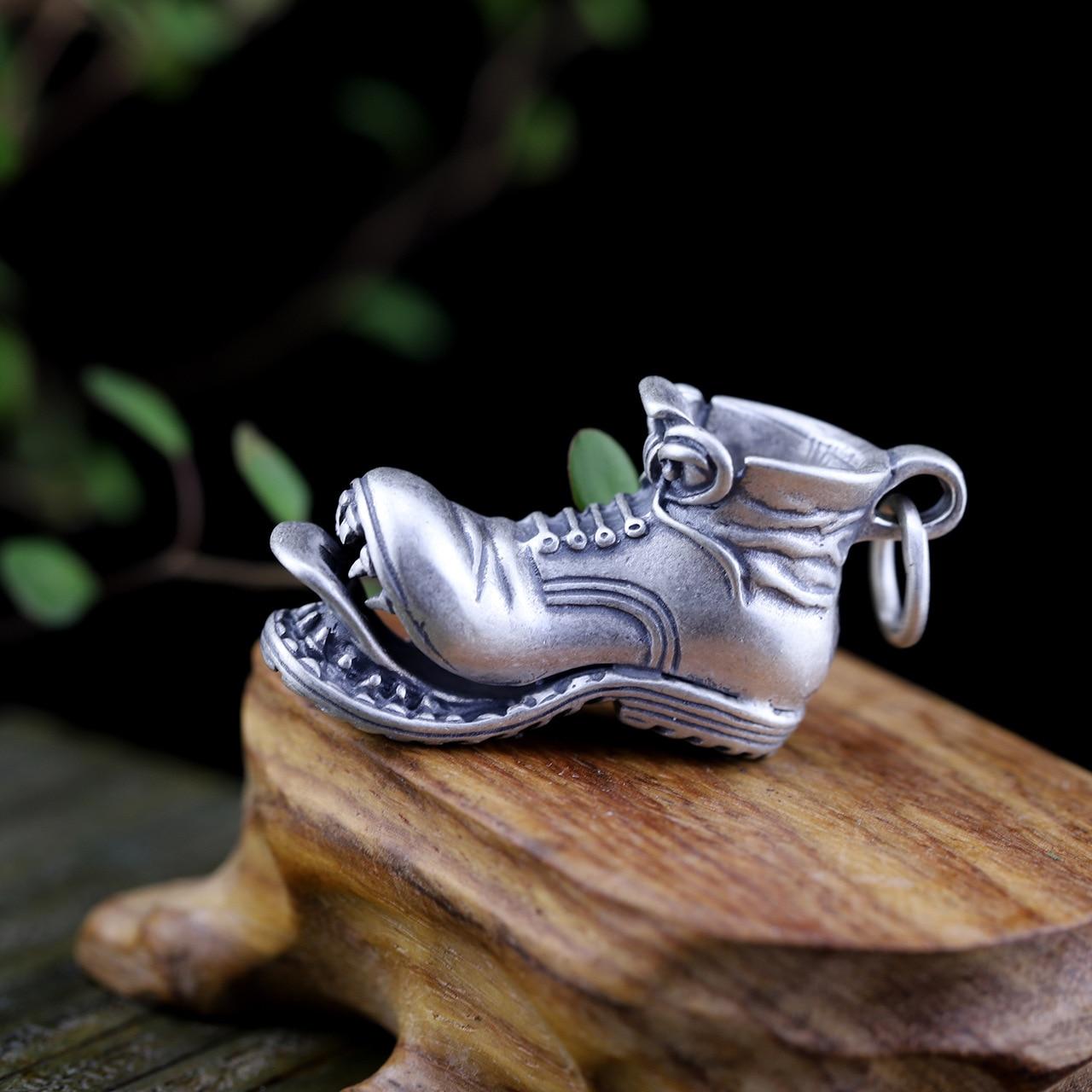 S925 pure silver ornaments Thai silver seiko men sautoir shoes pendant hip-hop personality s925 pure silver pendant archaize process new personality fashion skulls