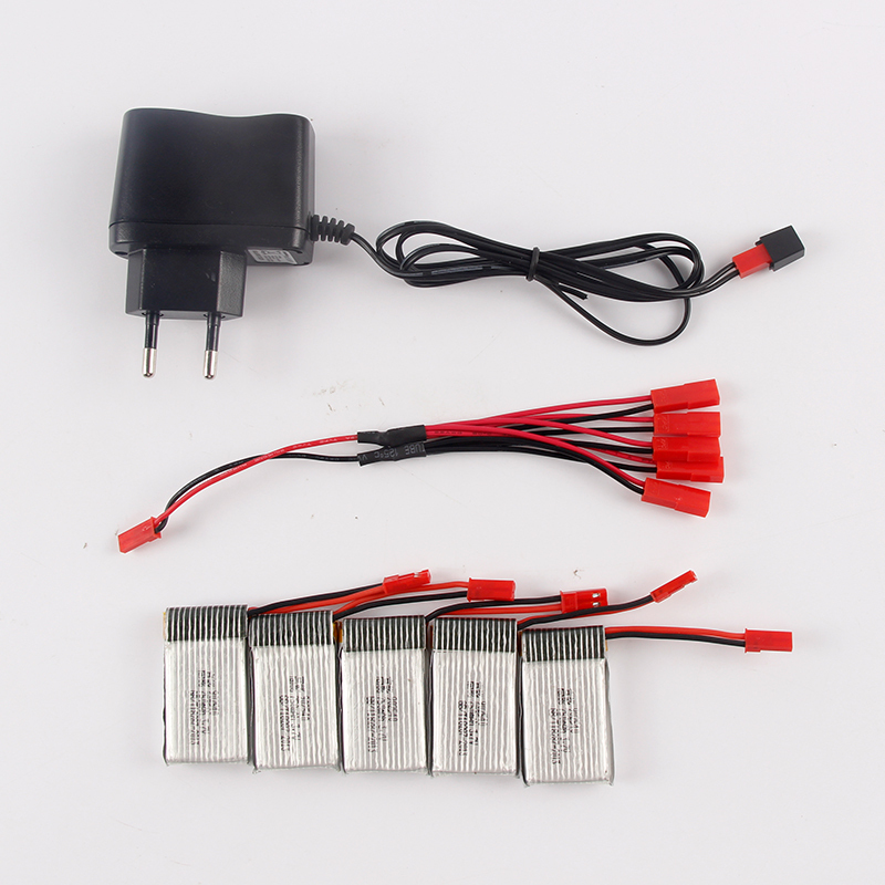 ФОТО 750MAH 25C 3.7V Lipo Battery with 5pcs in JST 2 to 5 Battery Charger for JJRC H12C DFD F181 MJX X400 X800