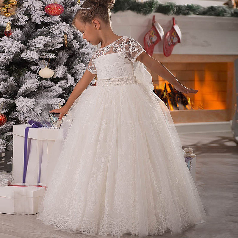 Princess Flower Girl Dress Lace Appliques Cap Sleeve Beading Belt Open V Back Floor Length Ruffle Tulle Ball Gowns with Big Bow gorgeous lace beading sequins sleeveless flower girl dress champagne lace up keyhole back kids tulle pageant ball gowns for prom