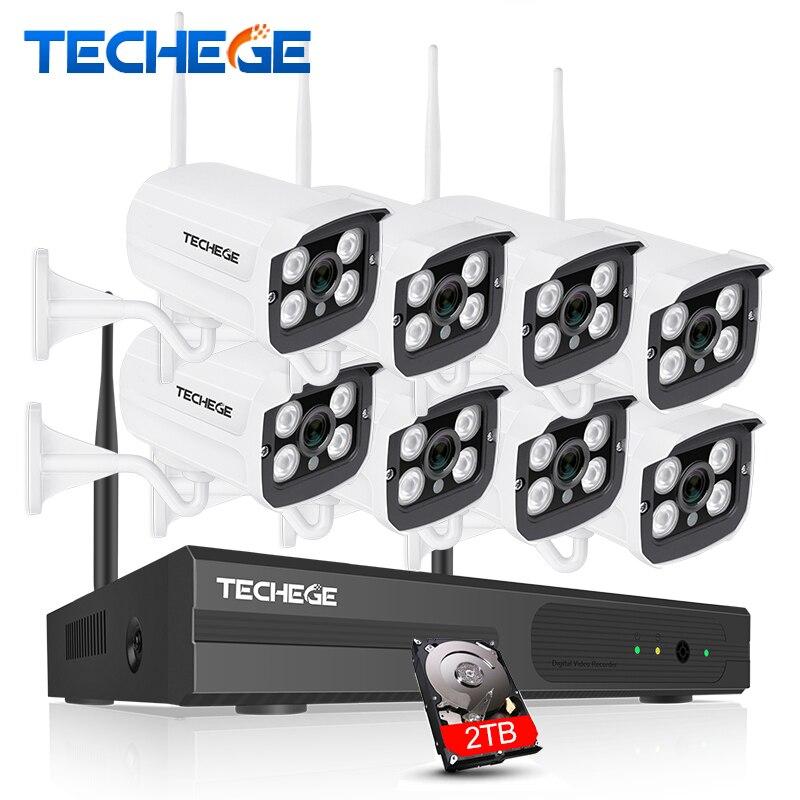 Techege 8CH 720 P NVR WI-FI комплект видеонаблюдения plug and play 8 шт. 720 P HD 1MP Беспроводной Водонепроницаемый Ночное видение видеонаблюдения Системы